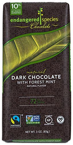 Endangered Species Rainforest, Natural Dark Chocolate (72%) with Forest Mint, 3-Ounce Bars (Pack of 12)