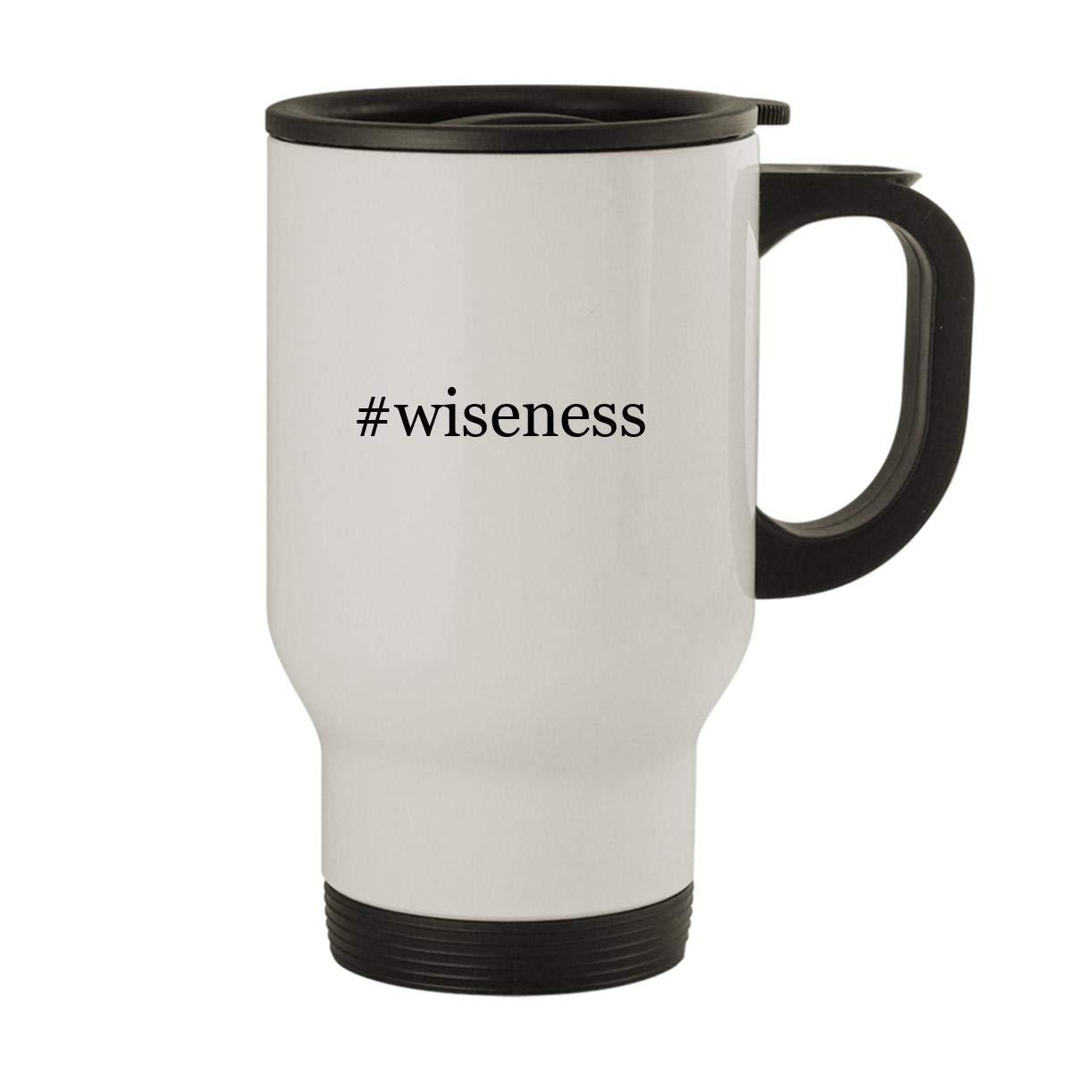 #wiseness - Stainless Steel Hashtag 14oz Travel Mug, White