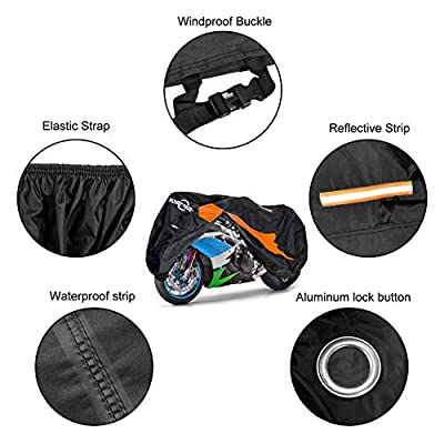 MORNYRAY Motorcycle Scooter Cover All Season Waterproof Sun Dustproof Outdoor Protection with Lock Holes Fits Up to 104 Inch Motorcycles Vehicle Cover (Black& Orange, XXL): Automotive