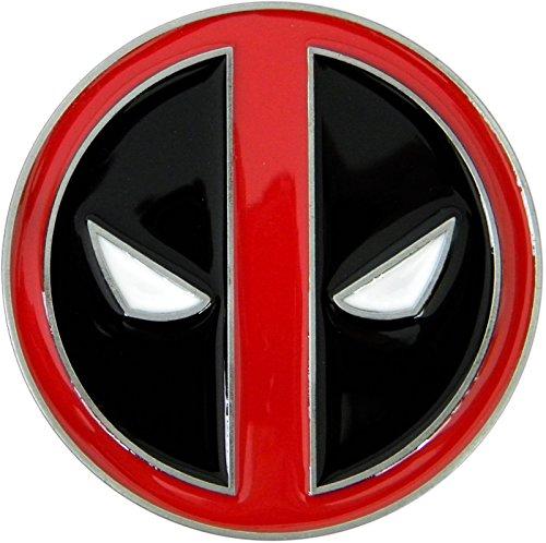 Deadpool Belt Buckle, Die Cast Chrome Finish Enamel Fill -