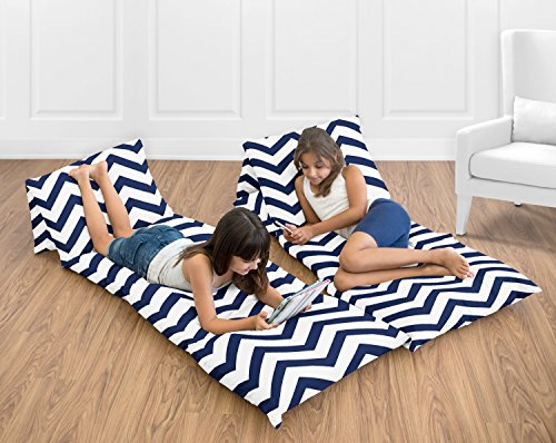Sweet Jojo Designs Navy Blue and White Chevron Zig Zag Teen Floor Pillow Case Lounger Cushion Cover (Pillows Not Included)