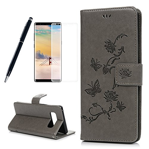 Samsung Galaxy Note 8 Case, Note 8 Wallet Case, Embossed Promising Lotus Butterfly Cover PU Leather Magnetic Flip Slim Bumper Built-in Card Slots Kickstand with Screen Protector Pen ZSTVIVA - Gray