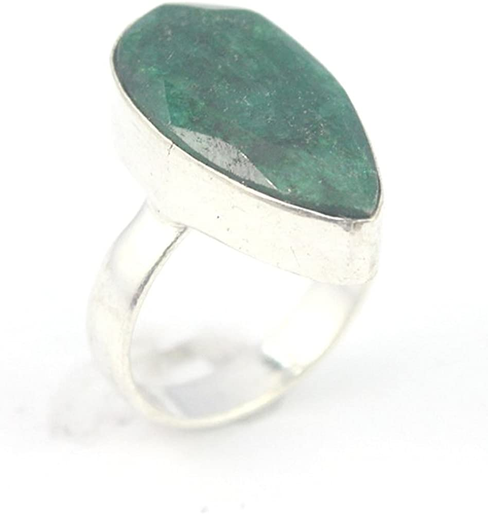 EMERALD FASHION JEWELRY .925 SILVER PLATED RING 9 S23949