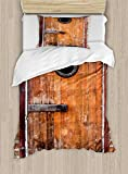 Ambesonne Rustic Duvet Cover Set Twin Size, Photograph of Antique Knotted Pine Wood with Control Window Lumber Nature Design, Decorative 2 Piece Bedding Set with 1 Pillow Sham, Caramel Brown
