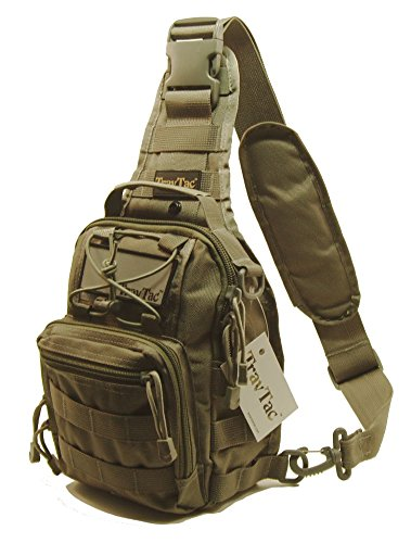 TravTac Stage II Sling Bag, Small Premium EDC Tactical Sling Pack 900D (Ranger Green)