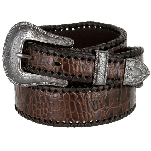 Men's Braided Edge Alligator Embossed Genuine Leather Western Golf Belt (32 Brown) - Crocodile Belt Strap