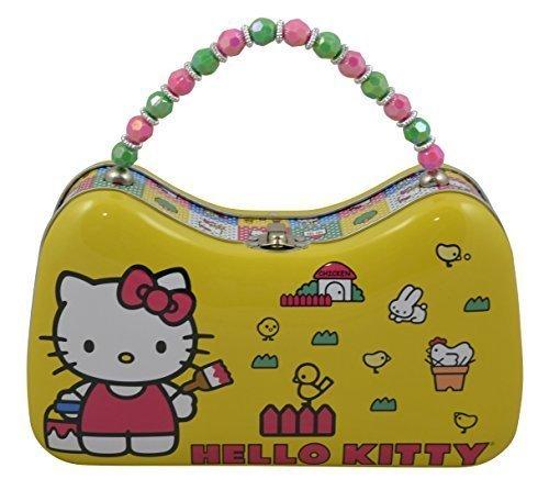Sanrio Hello Kitty Tin Purse Box with Beaded Handle (Yellow)