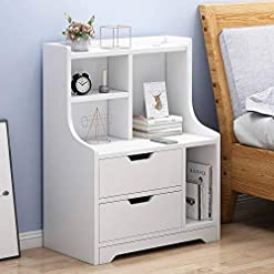 Bedroom End Table Night Stand Bedside Table with Drawers for Bedroom Farmhouse Home Storage Organizer White/Yellow – Easy… farmhouse nightstands