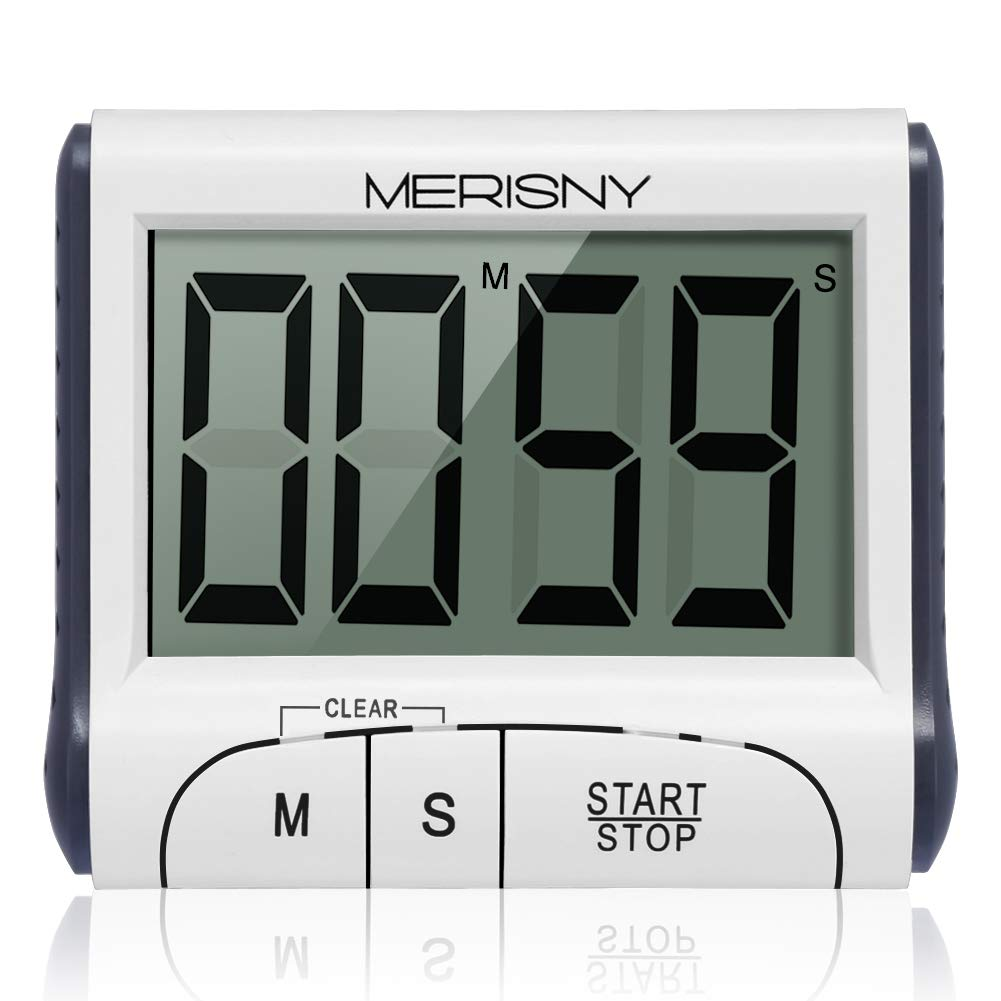 Digital Kitchen Timer,Merisny Magnetic Kitchen Timer Large LCD Display Screen Cooking Timer 24 Hours Clock Timer with Loud Alarm Countdown Clock