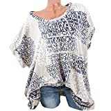 Clearance!Hot Zlolia Fashion Womens Fashion Short Sleeve Blouse Letter Print Sexy Shirts Pocket Tops (S-5XL)