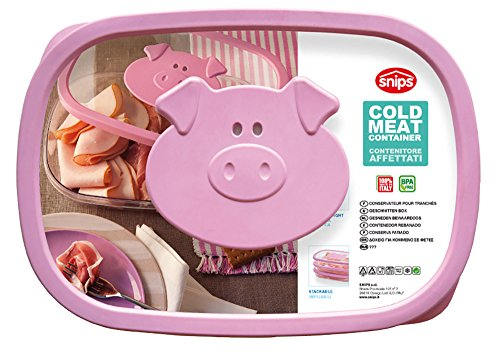 Snips Stackable Storage Cold Meat Saver, Clear with Pink - Lunch Pig