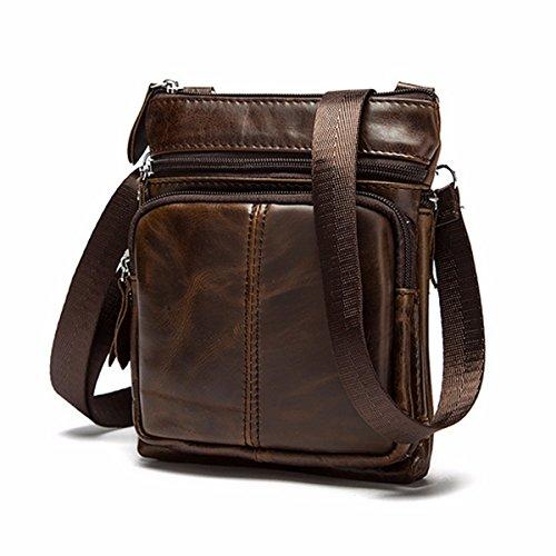 OURBAG Casual Men Vintage Shoulder Bag Messenger Crossbody Bags Handbag Coffee Medium