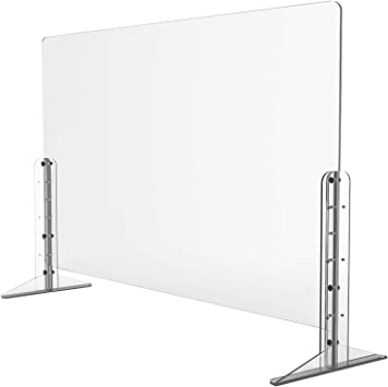 Protective Sneeze Guard for Counter and Desk Pass-Through Transaction Window 32W x 24H Freestanding Clear Acrylic Shield for Business and Customer Safety Portable Plexiglass Barrier