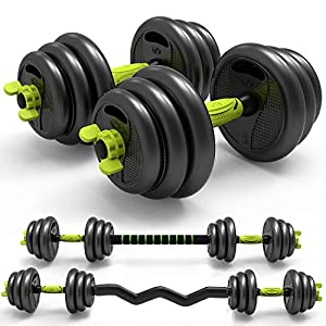 Well-Being-Matters 518%2BLw00VtL._SS300_ Adjustable Weight Dumbbell Barbell Set 3-in-1 Home Fitness Free Weight Equipment Curved Rod Weight Set of 5/10/15/20/ 33…