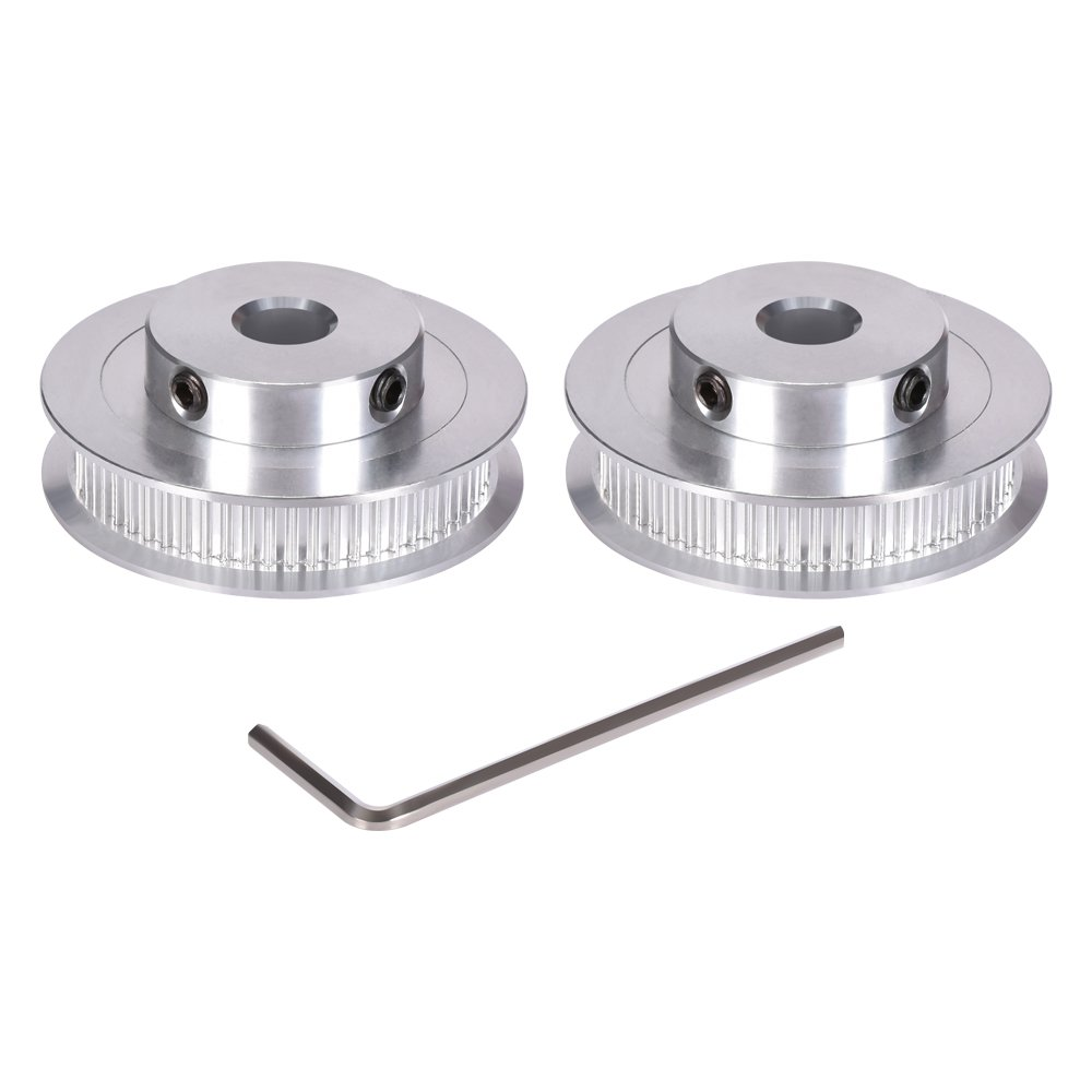 KINGPRINT 60 teeth Aluminum Bore 8mm GT2 Timing Pulley for Width 6mm for3D Printer Parts(Pack of 2pcs)