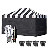 ABCCANOPY Carnival Black 10 X 15 Ez Pop up Canopy Tent Commercial Instant Gazebos with 6 Removable Black Sidewalls and Roller Bag and 4X Weight Bag