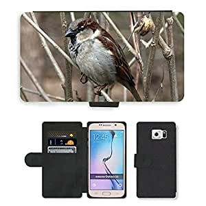 Super Stella Cell Phone Card Slot PU Leather Wallet Case // M00147853 Sparrow Tree Birds // Samsung Galaxy S6 (Not Fits S6 EDGE)