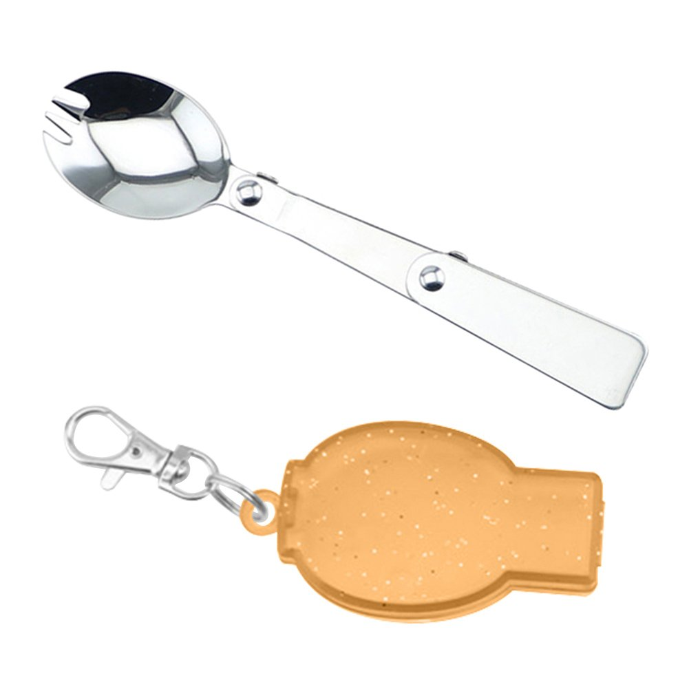 Gracorgzjs Portable Folding Stainless Steel Spoon Fork Hiking Camping Utensil Tableware Blue Fork