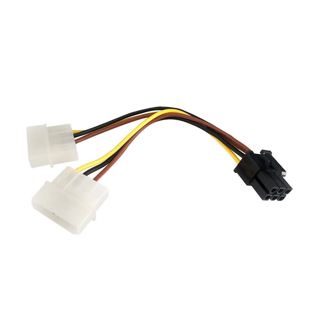 9daysminer 2-pack Dual 4 Pin Molex IDE to 6 Pin PCI Express Y Molex IDE Power Cable Adapter Connector (Male to Female)