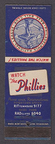 (Philadelphia National League Baseball Club Phillies 1939 schedule matchcover )
