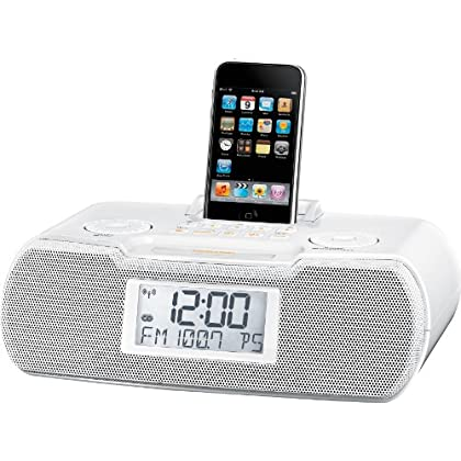 Image of Sangean RCR-10 FM-RDS (RBDS) / AM / Aux-in Digital Tuning Atomic Clock Radio Compatible with 30 Pin iPod or iPhone (White) WITH FREE BLUETOOTH MUSIC RECEIVER Clock Radios