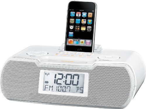 (Sangean RCR-10 FM-RDS (RBDS) / AM / Aux-in Digital Tuning Atomic Clock Radio Compatible with 30 Pin iPod or iPhone (White) WITH FREE BLUETOOTH MUSIC RECEIVER)