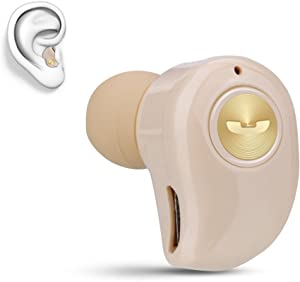 Mini Invisible Bluetooth Earbud,V4.1 Stereo Wireless Bluetooth Earphone with Built-in Mic,Sports Noise Cancelling in-Ear Headphone for iPhone Samsung and Other Android Phones (Gold)