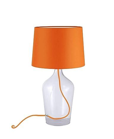 Lámpara de mesa con pantalla de tela naranja (lámpara ...