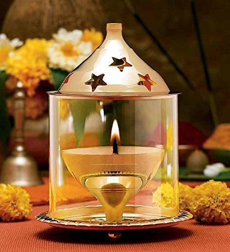 CraftVatika Decorative Oil Lamp Diya Holder Akhand Diya Brass Lantern Candleholder | Home Decor Ideal Gift DFBS117_1