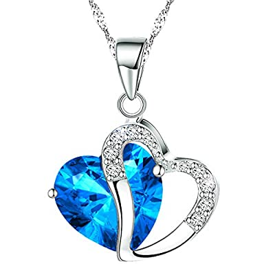 KATGI Fashion Austrian Crystals Heart Shape Pendant Necklace