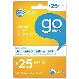 25 AT&T Go Phone Refill Card - Shipped by Amazon