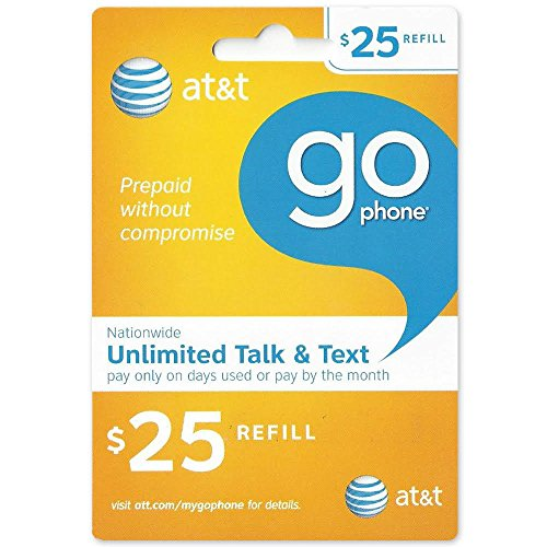 25 At T Go Phone Refill Card   Shipped By Amazon