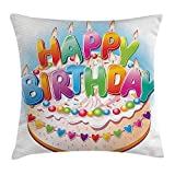 Ntpclsuits Birthday Decorations for Kids Pillow case Cartoon Happy Birthday Party Image Cake Candles Hearts Print 18 X 18 inches
