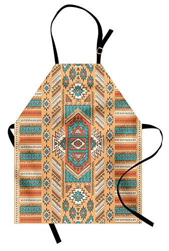 Ambesonne Tribal Apron, Secret Tribe Pattern in Bohemian Style, Unisex Kitchen Bib with Adjustable Neck for Cooking Gardening, Adult Size, Apricot Orange