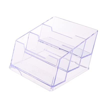 Amazon milue 3 tier clear acrylic plastic office desktop milue 3 tier clear acrylic plastic office desktop business card holder storage box colourmoves