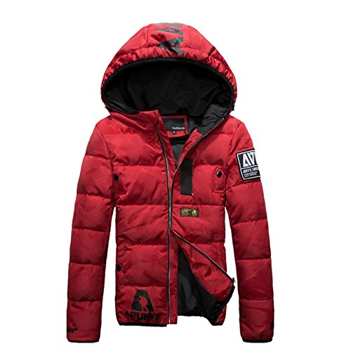 YANXH The New Winter Down Jacket Men Hooded Outdoor Ski Coat , red , XL by YANXH outdoors