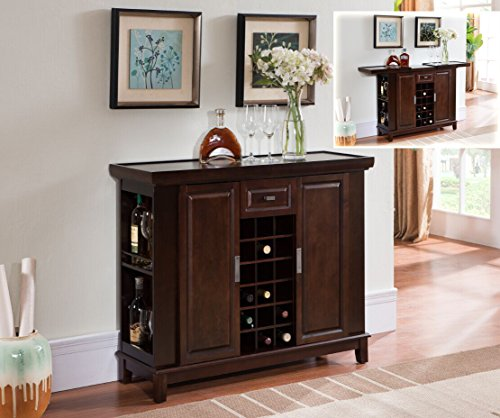 Kings Brand Walnut Finish Wood Wine Cabinet Breakfront Buffet Storage Console Table In The Uae