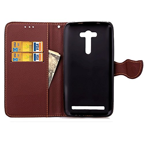 YHUISEN Zenfone 2 Láser ZE550KL caso, la naturaleza hoja de cierre magnético estilo PU cuero Wallet Funda cubierta de la caja For Asus Zenfone 2 Láser ZE550KL (5.5 pulgadas) ( Color : Red ) Black