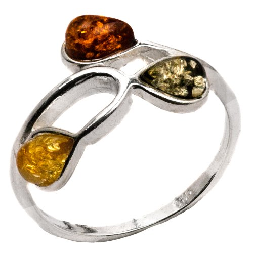 Ring Amber 3 Stone (Sterling Silver Multicolor Amber Three 3-stone Drops Ring)