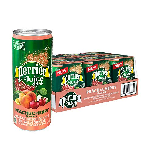 Fruit Flavored Beverage - Perrier & Juice, Peach and Cherry Flavor, 8.45 Fl Oz. Cans (24 Count)