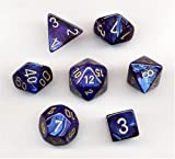 Polyhedral 7-Die Scarab Dice Set - Royal Blue with Gold
