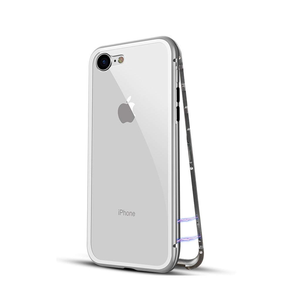 iPhone 6 6S Plus Case Ultra Slim Magnet Metal Frame Tempered Glass Built-in Magnet Flip Cover (iPhone 6 Plus 6S Plus, White)