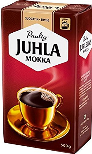 Paulig Juhla Mokka - Fine Grind - Filter Blend Ground Coffee - Bag 500g (Finland) (12 Bags (Save 50%)) by Paulig Coffee