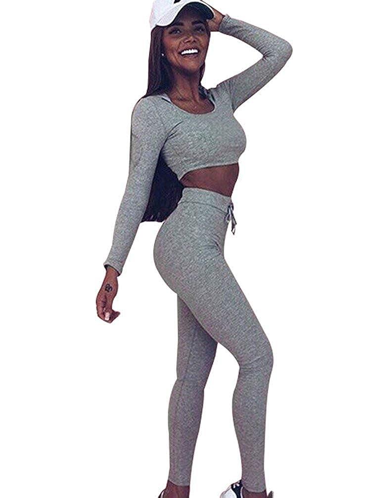 Angel ZYJ Damen Sport Yoga Outfit U-Ausschnitt Langarmhemd Plus Jumpsuit Hut + Fest Leggings
