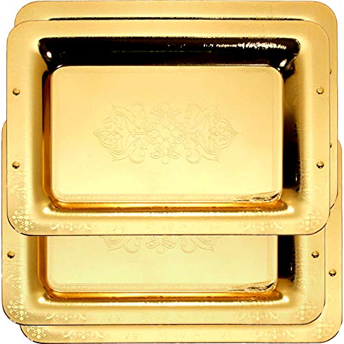 (Maro Megastore (Pack of 4) 18.5-Inch x 13-Inch Special Rectangular Iron Gold Plated Serving Tray Floral Edge Engraved Decorative Holiday Wedding Birthday Buffet Party Dessert Platter 1774 L Tla-079)
