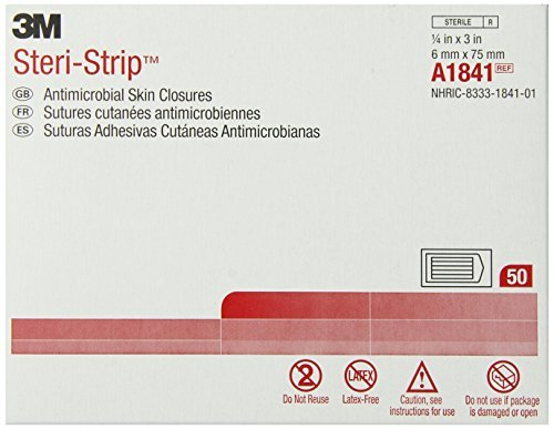 3M Steri-Strip Antimicrobial Skin Closures A1841, 50 Bags (Pack of 4) by 3M