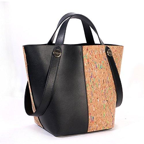 Basecamp Cork Tote Shoulder Bags in Genuine Leather Women's Top Handle Satchel Handbags Made in Cork coated (L(3615.526CM), (Cork Purse)