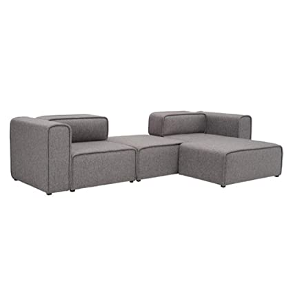 Amazon.com: L-Shaped 3 Seater Left Sectional Chaise Modern Sofa ...