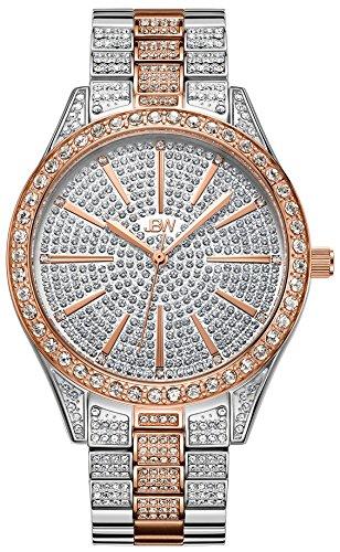 JBW Luxury Women's Cristal 0.12 Carat Diamond Wrist Watch with Stainless Steel Link Bracelet from JBW