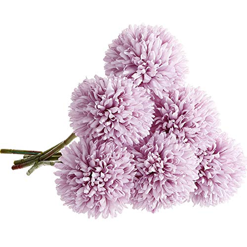 CQURE Artificial Flowers, Fake Flowers Silk Plastic Artificial Hydrangea 6 Heads Bridal Wedding Bouquet for Home Garden Party Wedding Decoration 6Pcs (Purple) (Arrangements Hydrangea Purple)